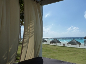 Beachfront cabana at the Hyatt Regency Cancun
