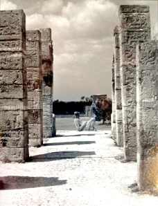 A yellowed 1989 image of Chac-Mool at Chichen Itza. Photo credit: L. Tripoli